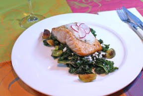 Salmon with Kale & Turnip Raita