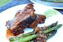 Tequila Glazed Ribs with Grilled Asparagus & Caramelized Onions