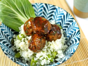 Asian Meatballs with Rice & Bok Choy
