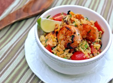 Paella with Smokey Grilled Chicken & Shrimp