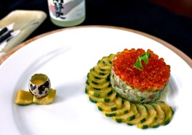 Hamachi Tartare with Miso Pickled Cucumber & Salmon Roe