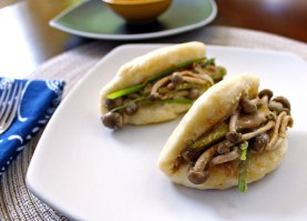 Bao Buns with Smoked Shimeji Mushrooms & Cashew Hoisin Sauce
