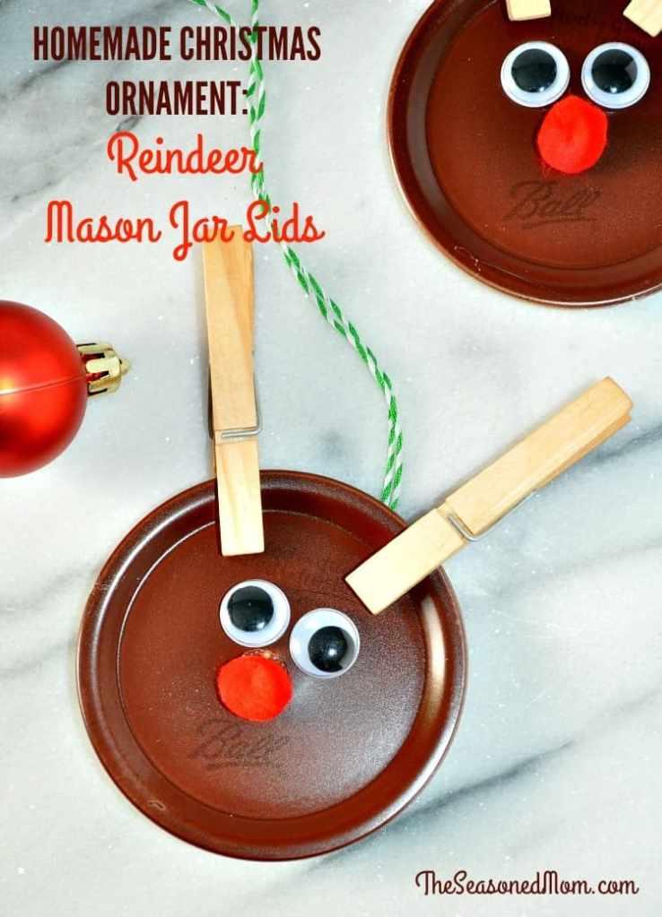 Homemade Christmas Ornaments: Mason Jar Lid Reindeer