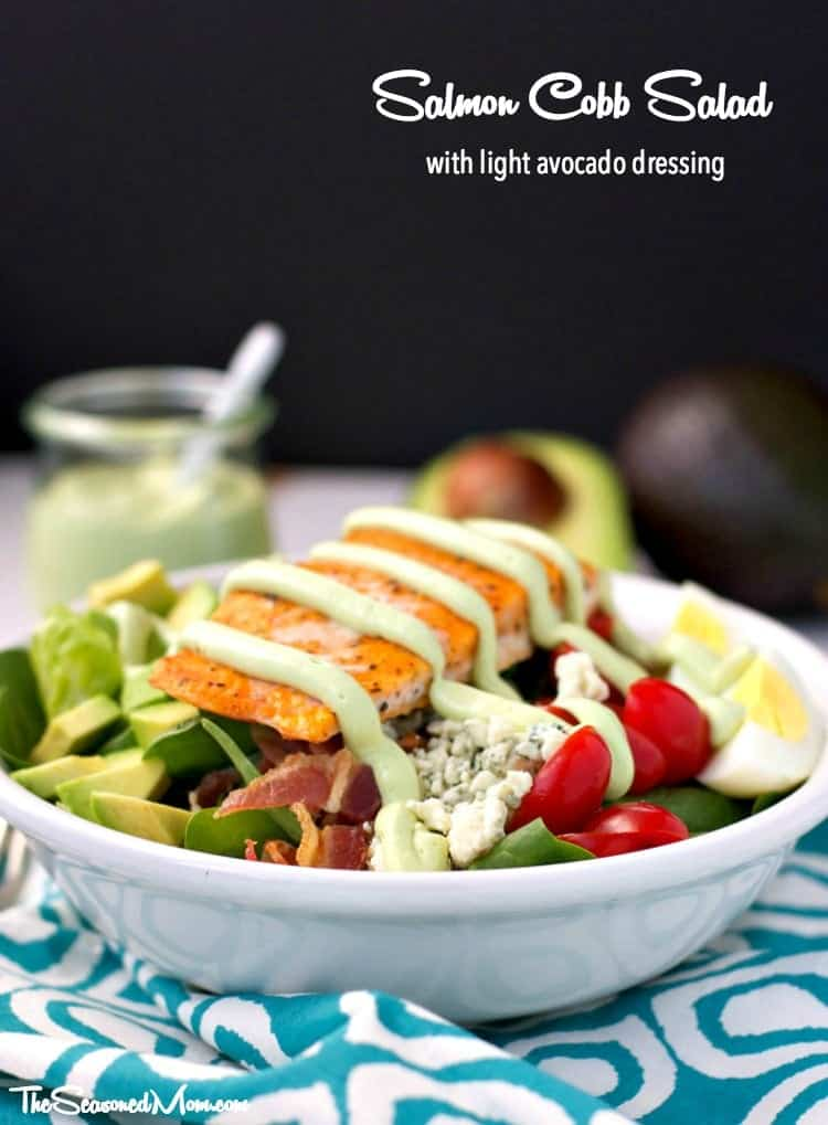 Salmon Cobb Salad with Light Avocado Dressing