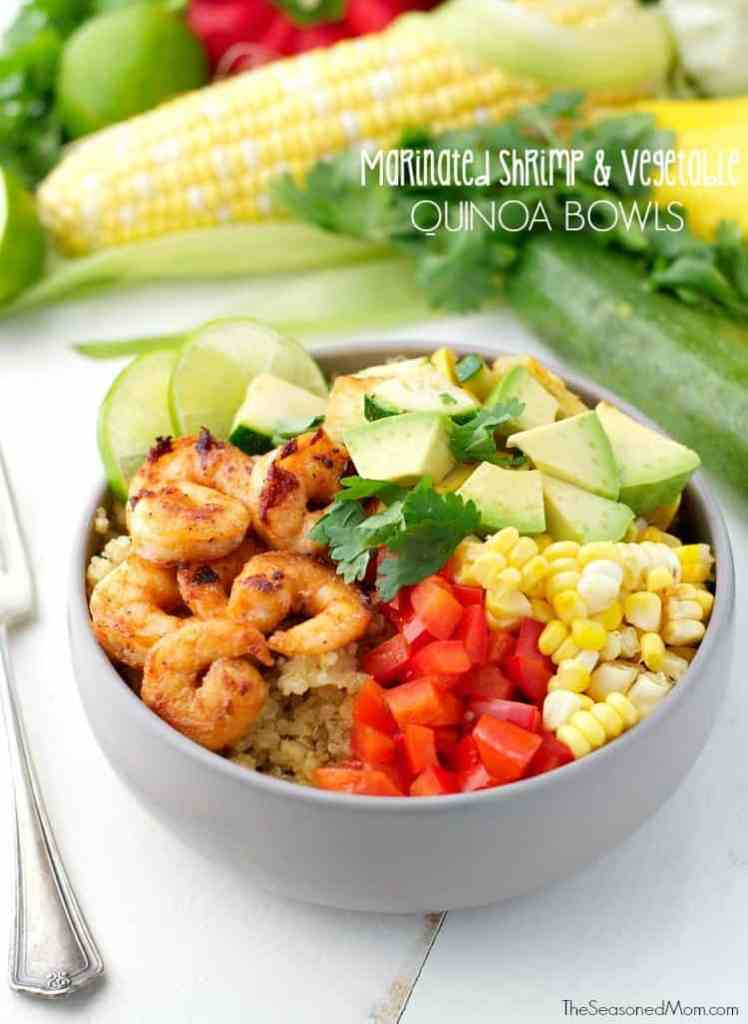 Marinated Shrimp and Summer Vegetable Quinoa Bowls