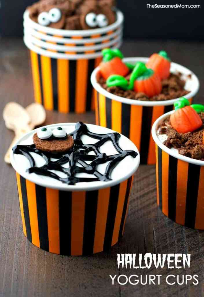 Easy Halloween Yogurt Cups