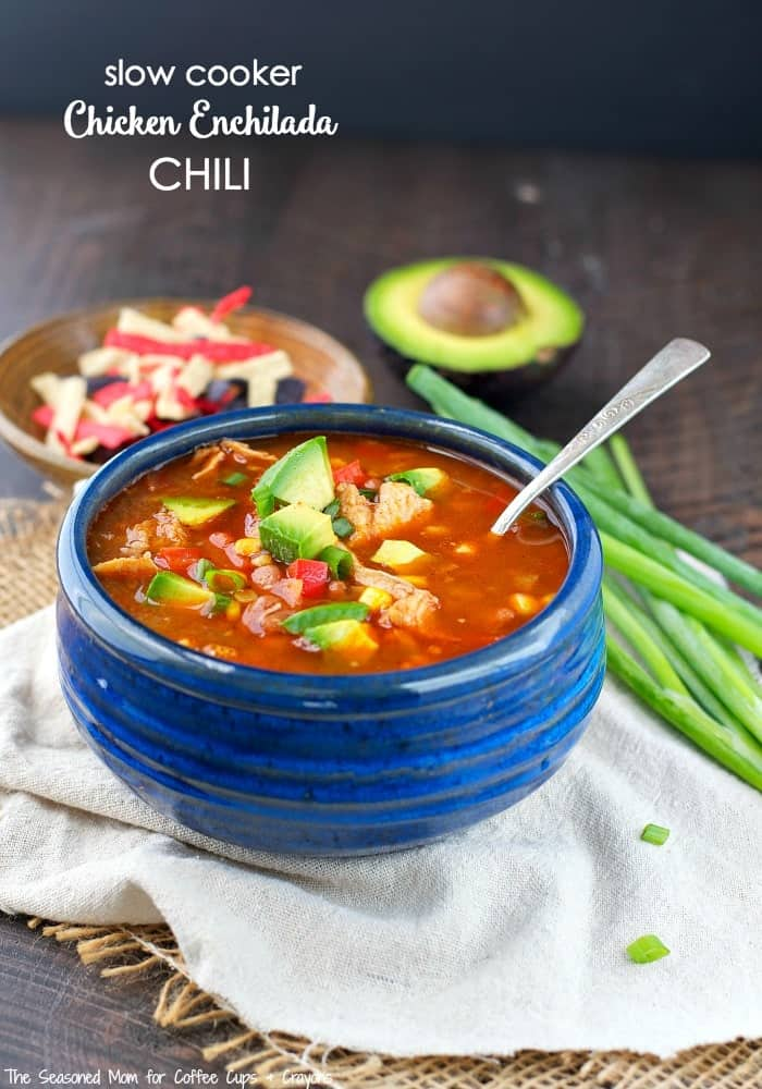 You only need 10 minutes to prepare this Slow Cooker Chicken Enchilada Chili, which simmers in the Crock Pot all day for a convenient and easy weeknight dinner!