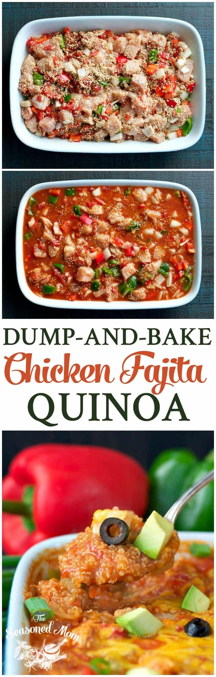 This easy Dump-and-Bake Chicken Fajita Quinoa is an easy and healthy dinner casserole that cooks entirely in one dish!