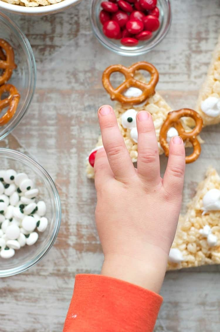 These Rudolph Rice Krispies® Treats are an easy Christmas dessert that your children can help prepare, making the bars a perfect addition to your festive holiday platters.