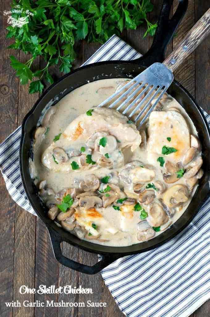 One Skillet Chicken with Garlic Mushroom Sauce
