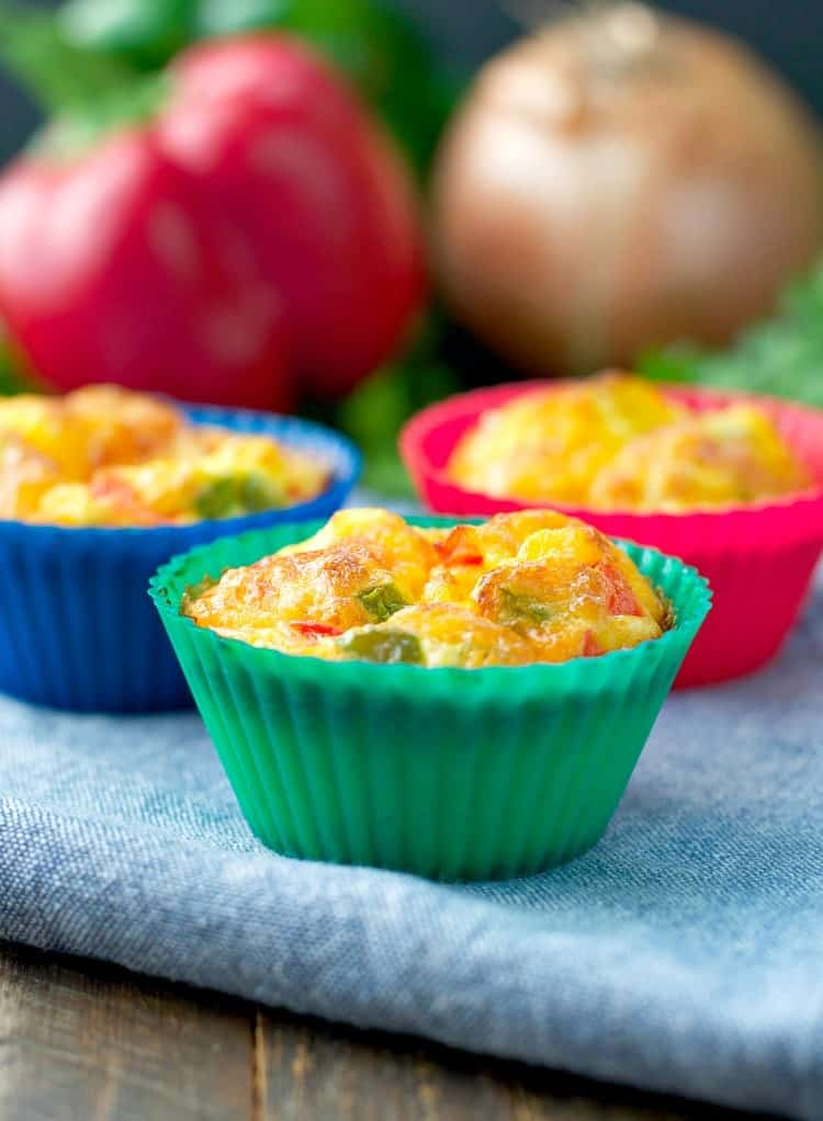 Just 10 minutes of prep for an easy and healthy make-ahead breakfast: Freezer-Friendly Western Omelet Egg Muffins!
