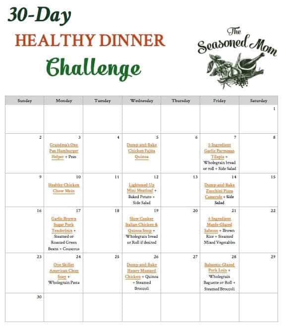30 Day Healthy Dinner Challenge The Seasoned Mom