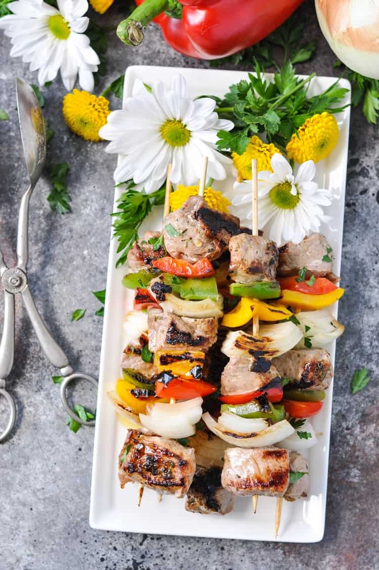 3-Ingredient Garlic & Herb Grilled Pork Tenderloin Kabobs