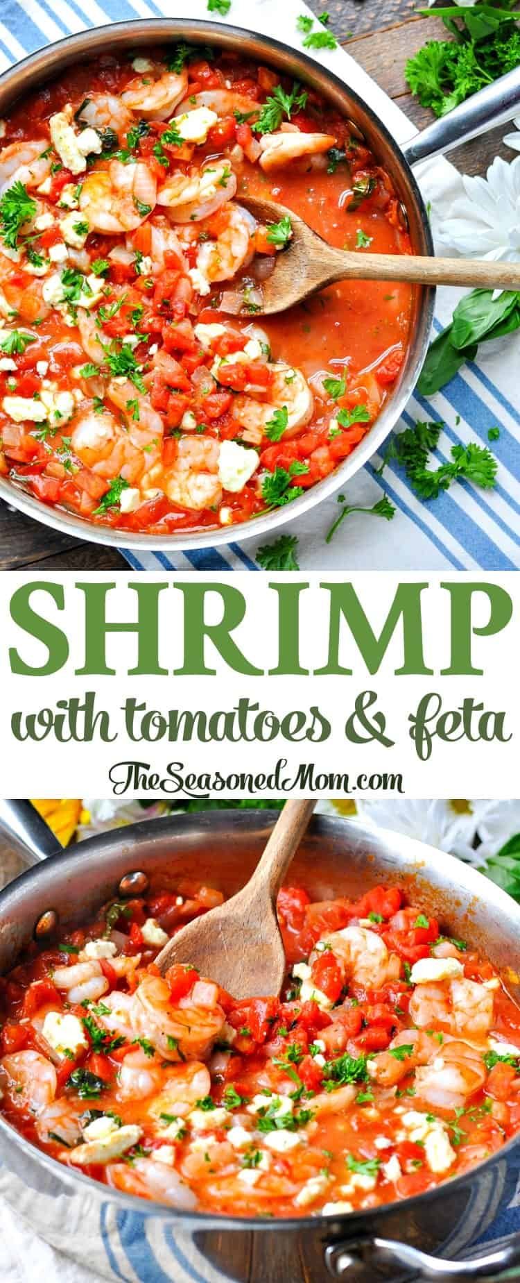 Shrimp with Tomatoes and Feta   Easy Dinner Recipes   Healthy Dinners   Healthy Dinner Recipes   Dinner Ideas   High Protein   Low Carb   Seafood Recipes   One Skillet   One Pan   Shrimp Recipes   Mediterranean Recipes   Mediterranean Food