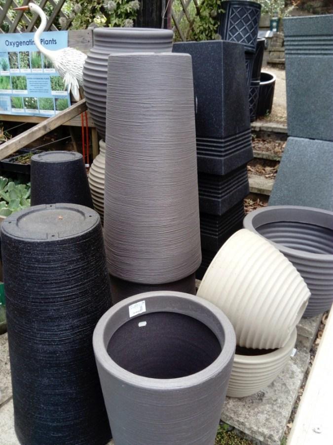 Stone effect plastic pots