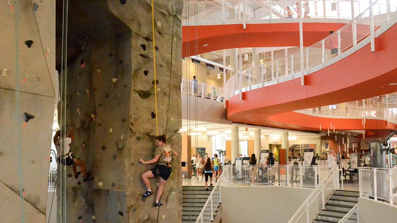 Auburn University   SECU Auburn s Recreation and Wellness Center features rock climbing and a  one third mile indoor track