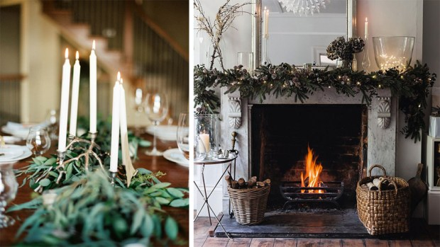 Christmas table garland and festive fireplace