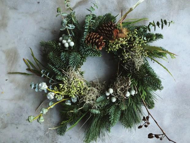 Rustic Christmas wreath with eucalyptus