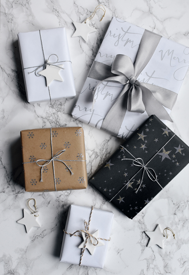 simple Christmas gift wrapping with stars