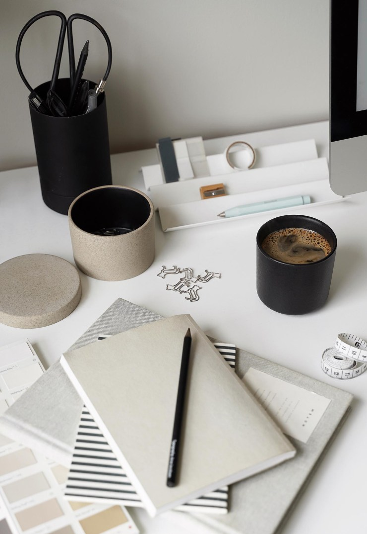 Minimalist desk accessories in a calming grey and beige home office   These Four Walls blog