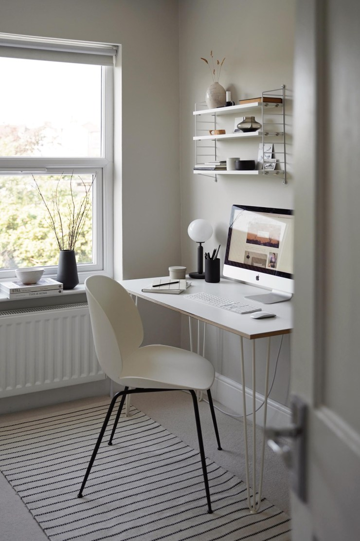 Minimalist grey home office with white Beetle chair by Gubi | The design classics of the future | These Four Walls blog