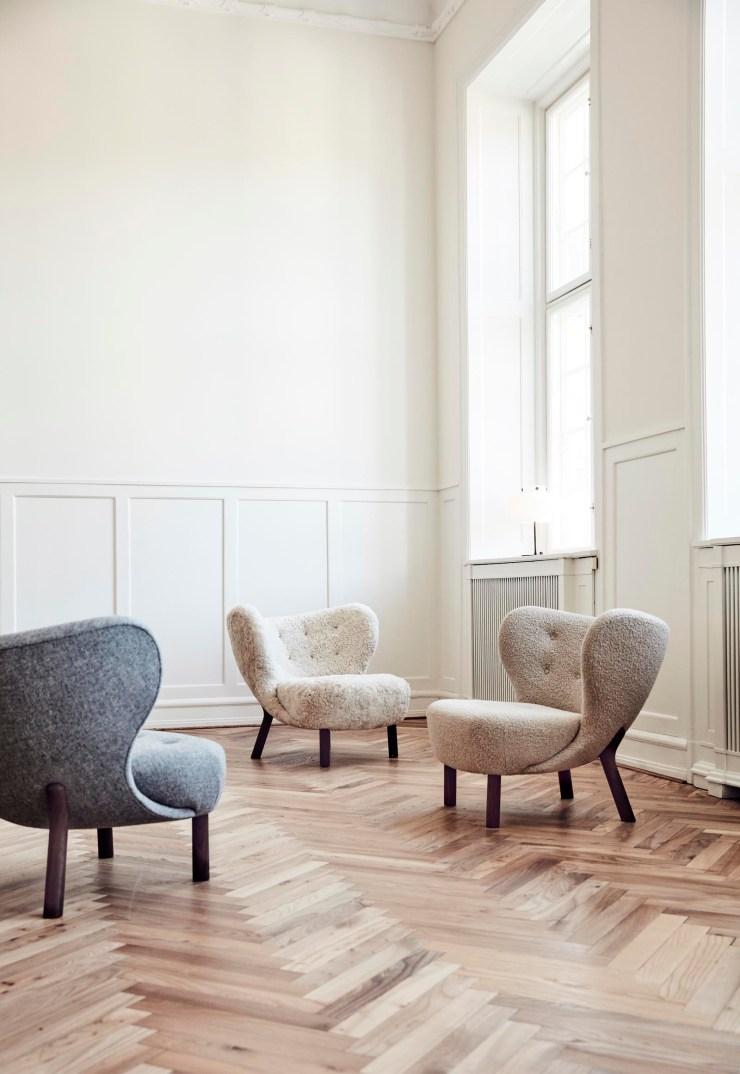 Sheepskin and bouclé-covered 'Little Petra' chairs - a Scandinavian design classic | These Four Walls blog