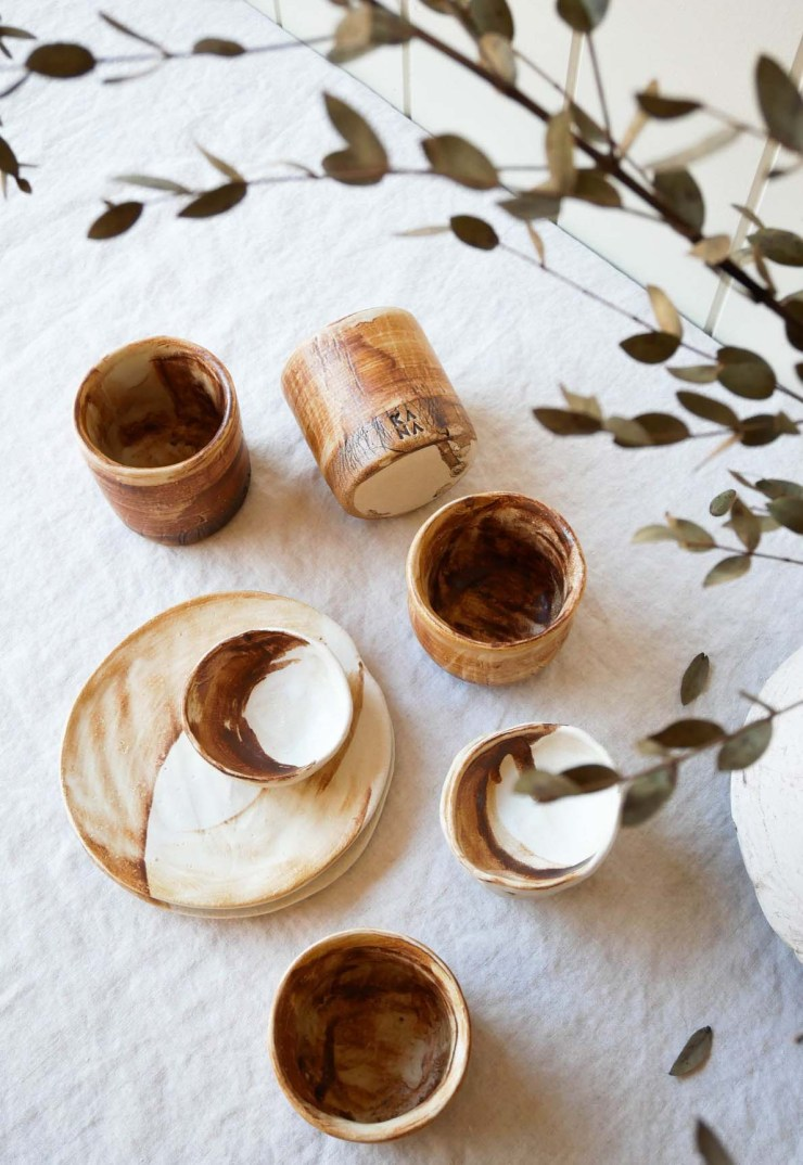 Hand-painted tableware in neutral earth tones from Kana London's 'SUMMER LAND' collaboration with Caro | New finds - July 2021 | These Four Walls blog