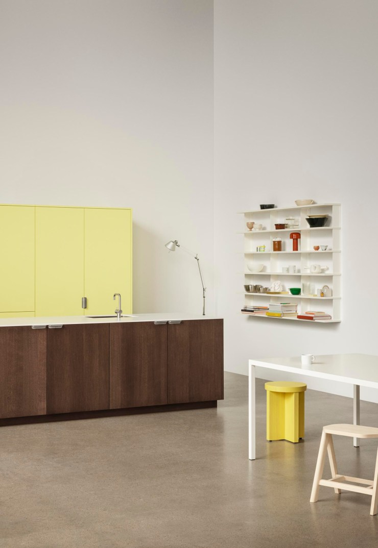 Contemporary minimalist kitchen with dark oak fronts, white stone worktop and open shelves from Reform's new 'UNIT' collection | New finds - July 2021 | These Four Walls blog