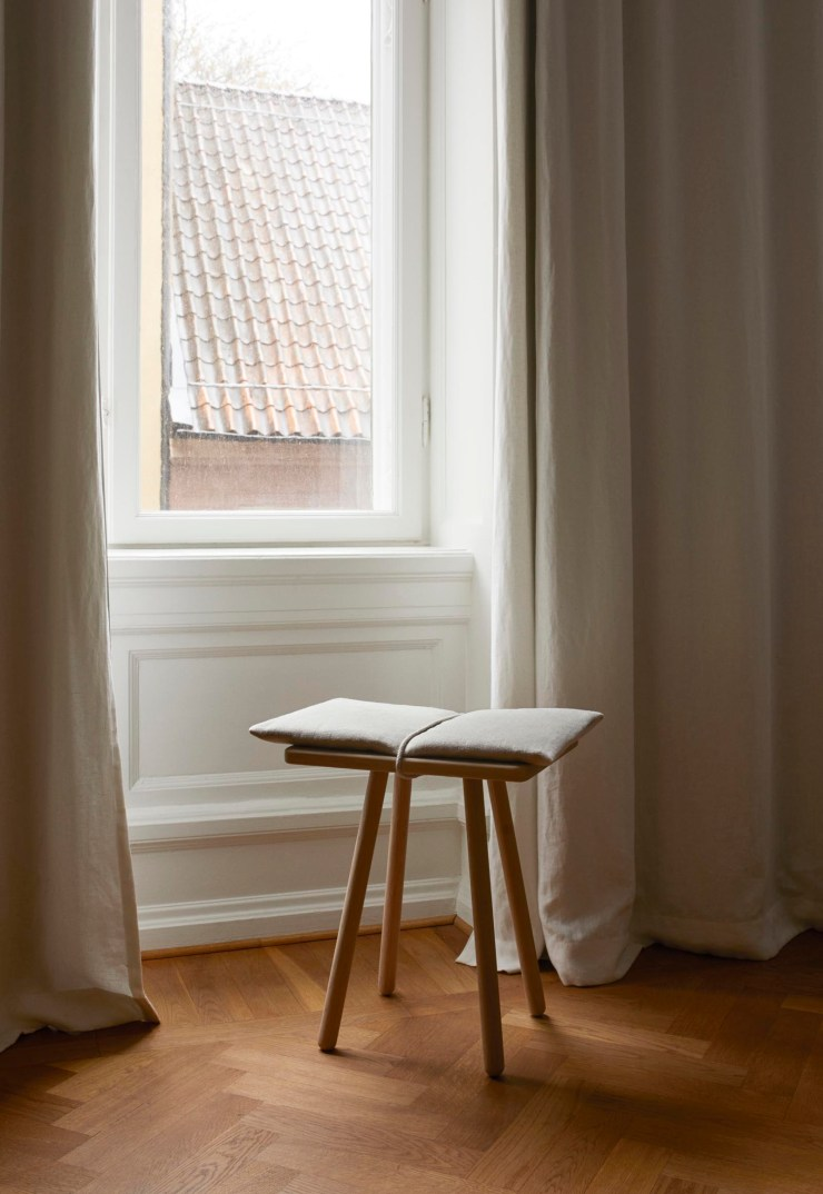 Skagerak's minimalist oak 'Georg' stool - a contemporary Scandinavian classic now available with a natural linen cushion | New finds - July 2021 | These Four Walls blog