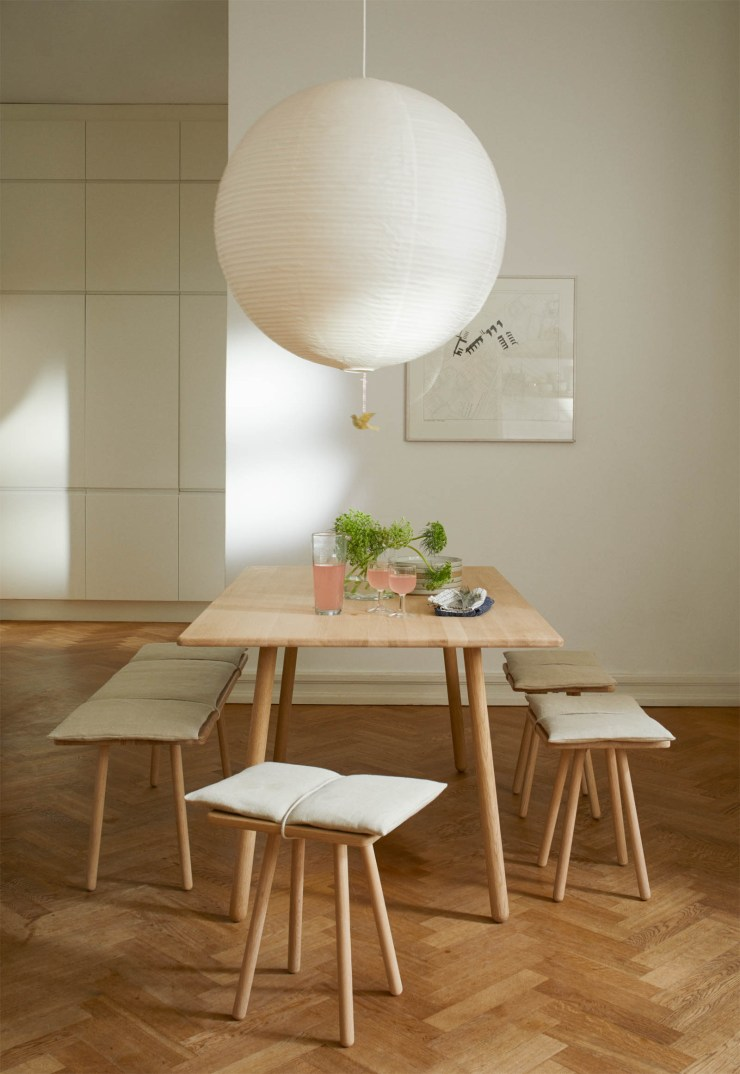 Minimalist Scandinavian dining room featuring Skagerak's 'Georg' bench and stool, now available with natural linen cushions | New finds - July 2021 | These Four Walls blog