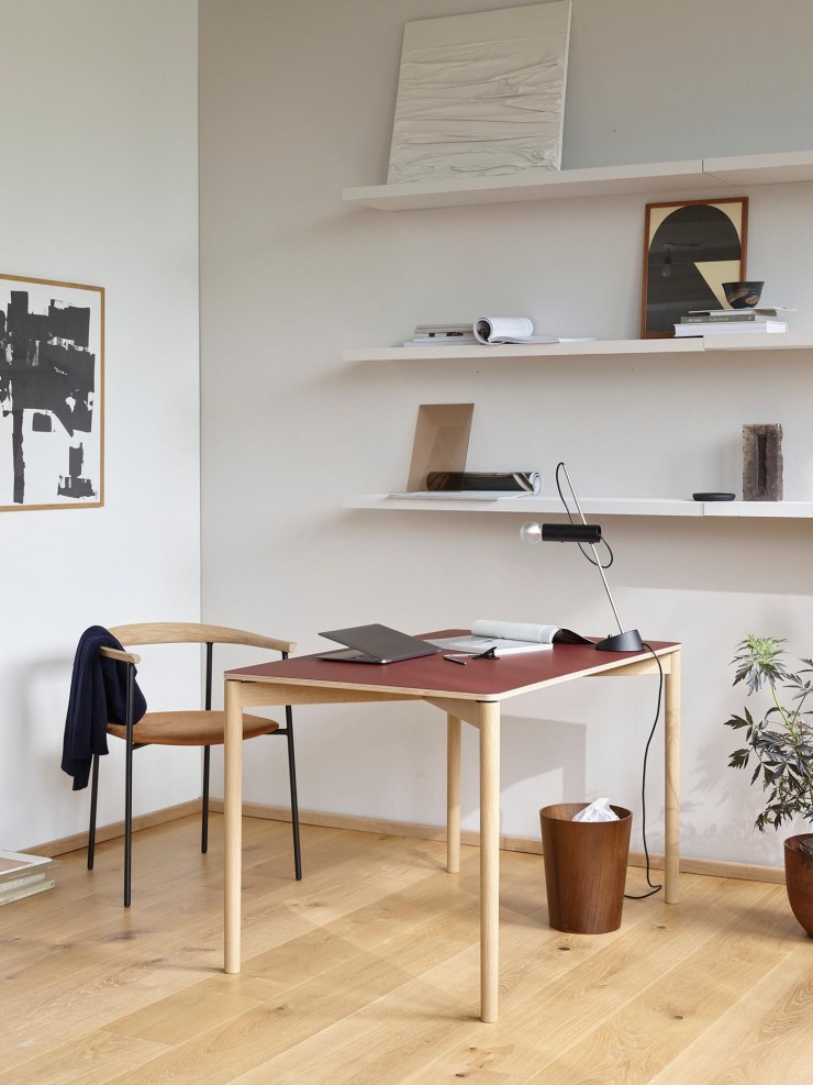 Minimalist office featuring TAKT's 'Cross 120' oak table / desk, here with a red laminate top | These Four Walls blog