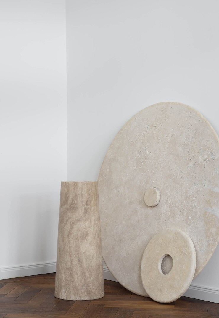 Minimalist marble dining table by Rebecca Goddard | These Four Walls blog