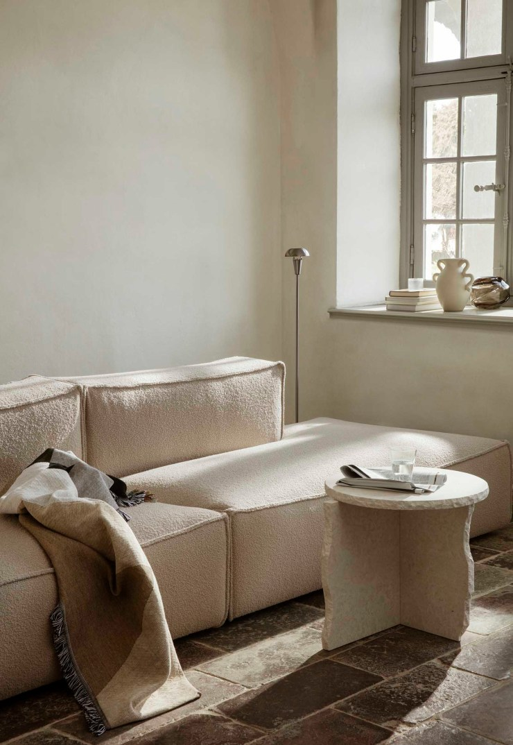 Minimalist living room with beige bouclé sofa and marble side table | The autumn-winter 2021 collection from Ferm Living | These Four Walls blog