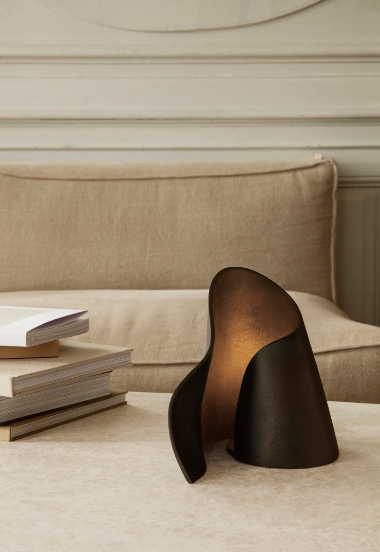 Sculptural table lamp, marble coffee table and beige bouclé sofa from Ferm Living's autumn-winter 2021 collection | These Four Walls blog