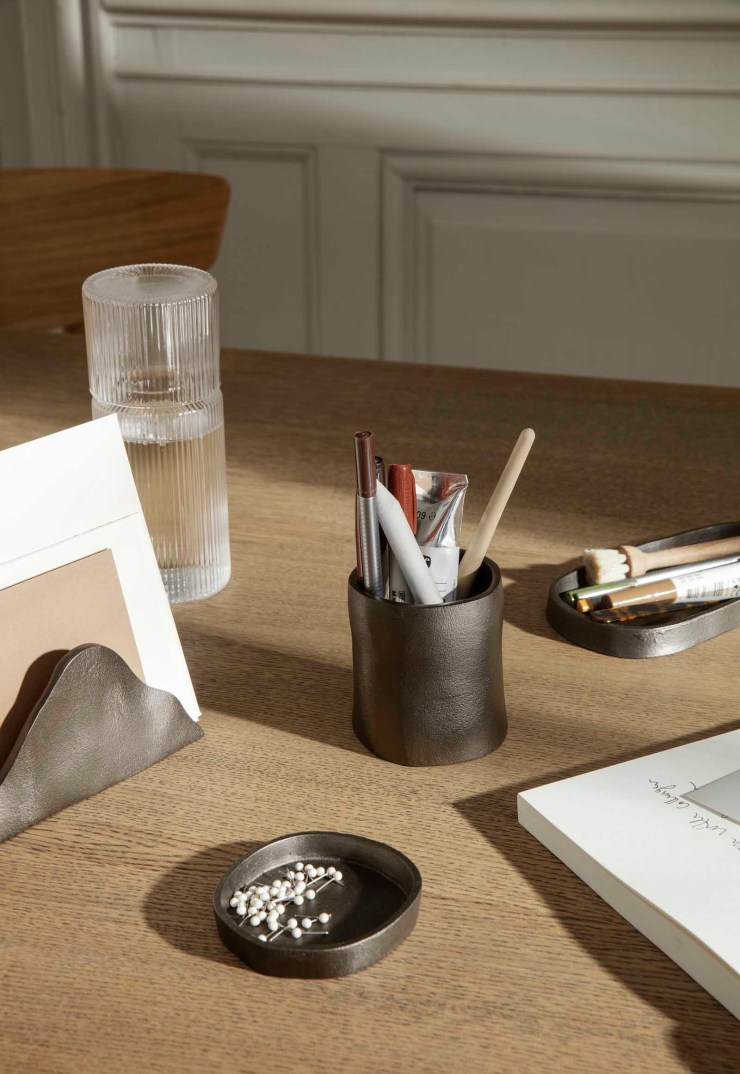 Minimalist desk set-up with organic-shaped accessories and earthy neutral tones | The autumn-winter 2021 collection from Ferm Living | These Four Walls blog