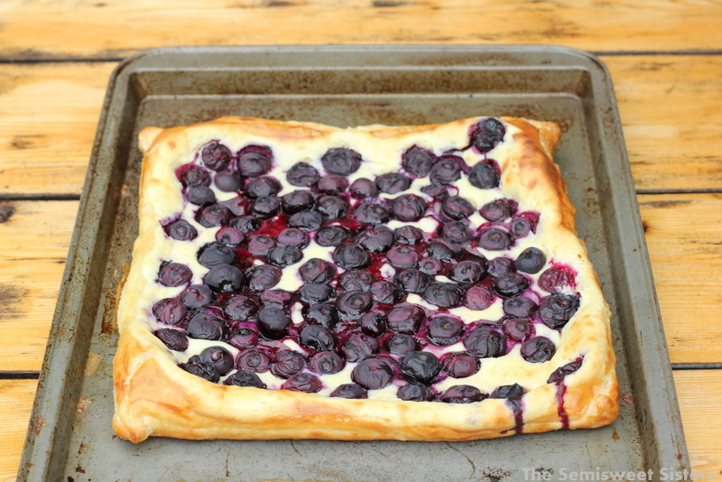 Blueberries and Cream Tart made with Puff Pastry