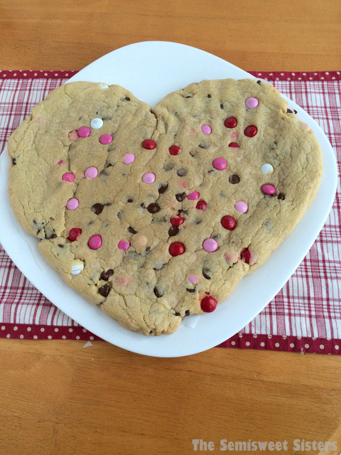 Giant Heart Shaped Chocolate Chip Cookie