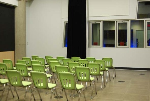 A meeting room on the lower level of the Rio Tinto Alcan Planetarium. (Photo by Hayley Juhl)