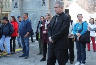 priest waiting for walk to start