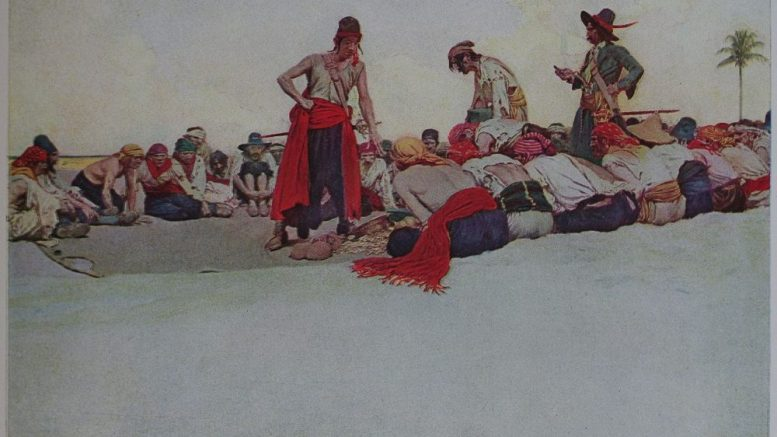 So the Treasure was Divided: pirates dividing their loot. The oil painting, which the illustration was of, was sold in 1905, and is currently part of the Delaware Art Museum's collection.
