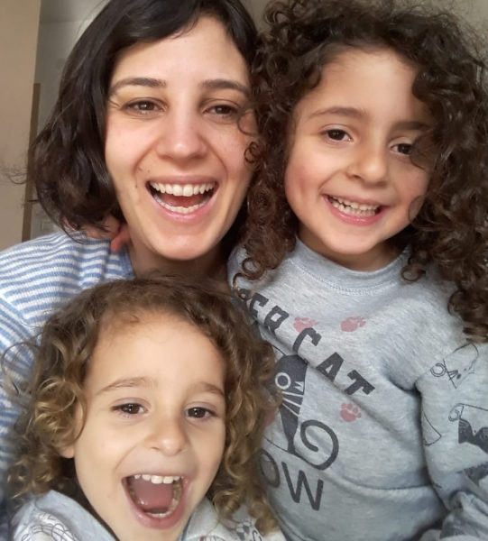 Avigail, Shani's daughter with her two kids Ye'ela and Eviatar Barashi hanging out in isolation in Zur Hadassa.