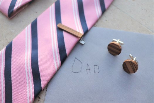 Wood tie clip and cuff links set