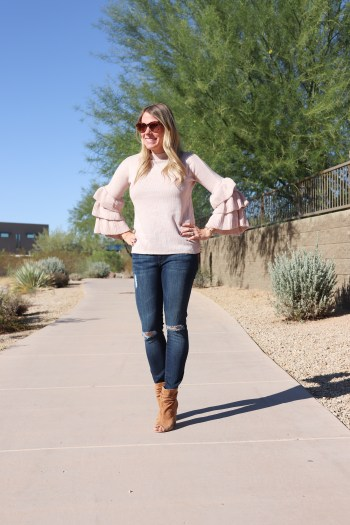 How adorable is this layered bell sleeve sweater?