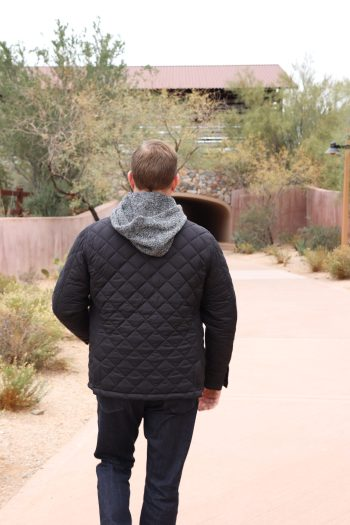 My hubby loves his new black quilted jacket