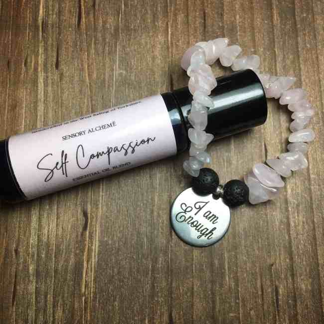 I Am Enough Self Compassion Gift Set Bracelet and Aromatherapy Rollerball from Sensory Alcheme by The Sensory Coach