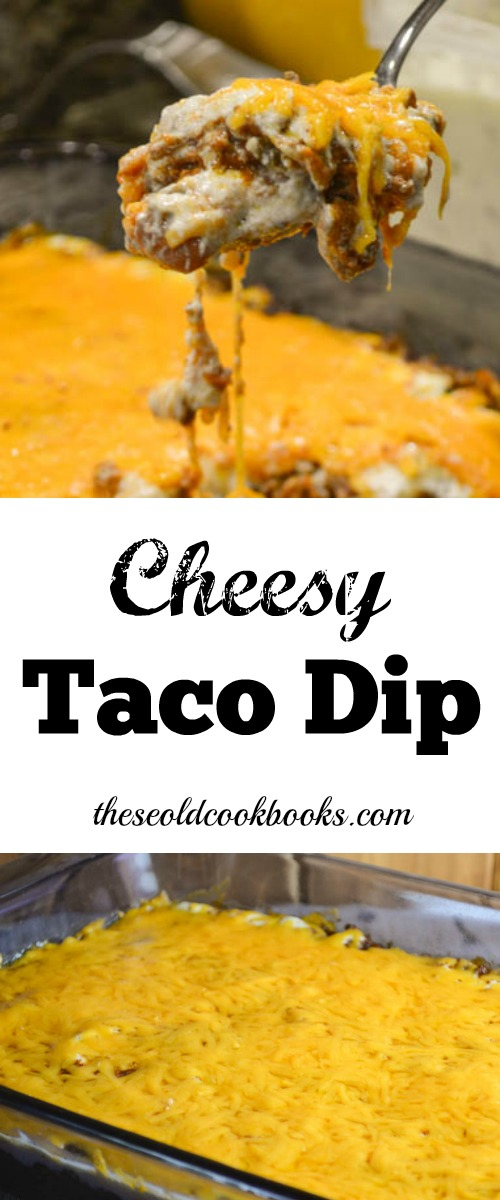 Cheesy Taco Dip is full of flavor and a great addition to any party or game day spread. Grab a bag of tortilla chips and you are ready to enjoy.