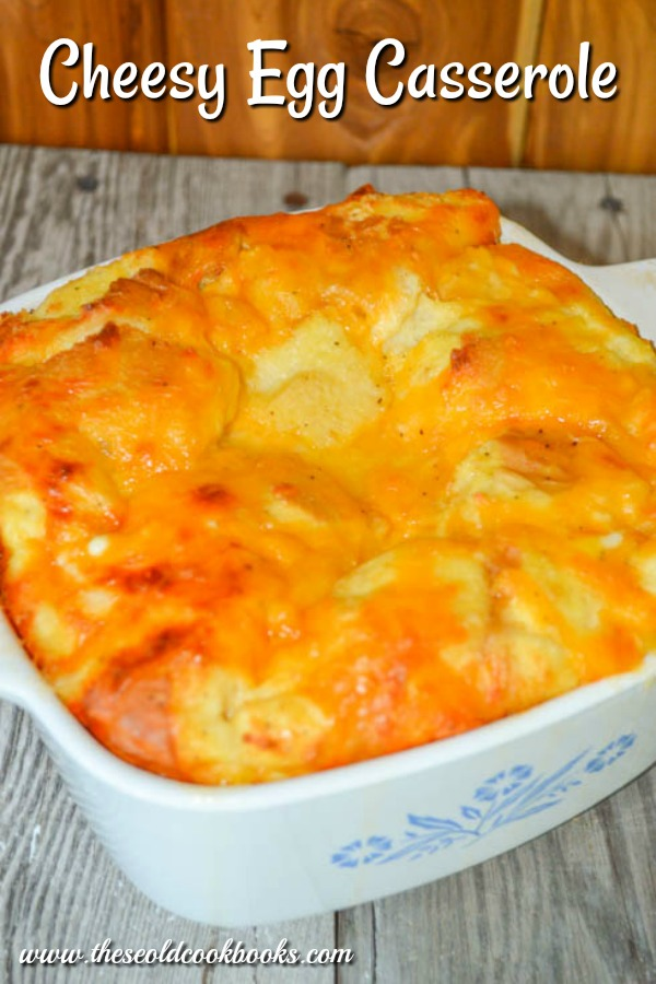 The recipe for this Cheesy Egg Casserole is simple and can use up extra bread you might have in your kitchen.