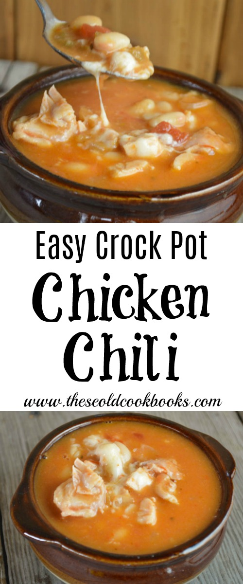 This Easy Crock Pot Chicken Chili is made with four ingredients and can be customized to fit your family's tastes, including how much heat is preferred.