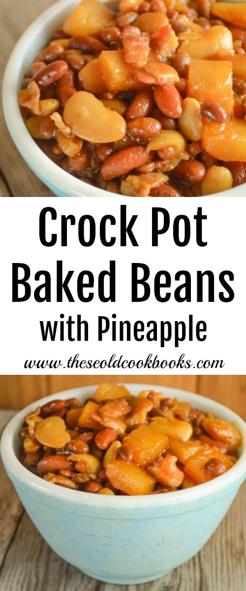 These Crock Pot Baked Beans with Pineapple are a new take on a family favorite side dish. The pineapple chunks give each bite a burst of sweetness.