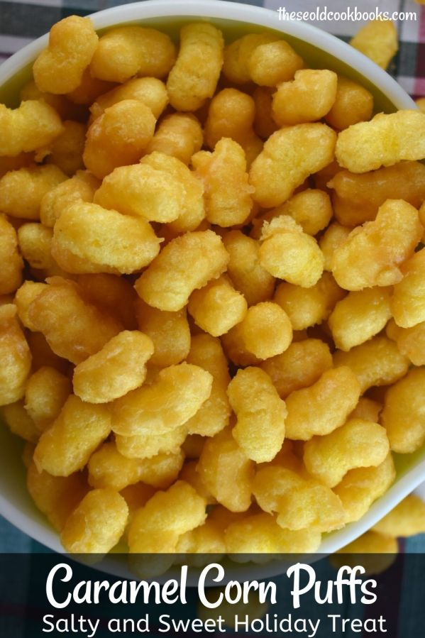 Caramel Puff Corn takes an ordinary snack food and turns into a sweet treat that you won't be able to stop yourself from eating! Seriously, this treat is addicting.  And, it's cheap to make!